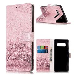 Glittering Rose Gold PU Leather Wallet Case for Samsung Galaxy Note 8