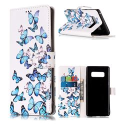 Blue Vivid Butterflies PU Leather Wallet Case for Samsung Galaxy Note 8