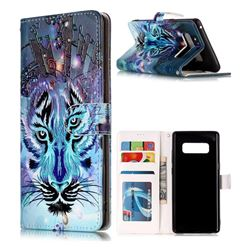 Ice Wolf 3D Relief Oil PU Leather Wallet Case for Samsung Galaxy Note 8