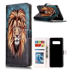 Ice Lion 3D Relief Oil PU Leather Wallet Case for Samsung Galaxy Note 8