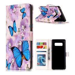 Purple Flowers Butterfly 3D Relief Oil PU Leather Wallet Case for Samsung Galaxy Note 8
