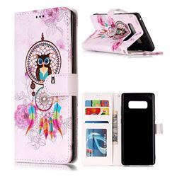 Wind Chimes Owl 3D Relief Oil PU Leather Wallet Case for Samsung Galaxy Note 8