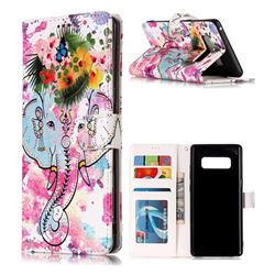 Flower Elephant 3D Relief Oil PU Leather Wallet Case for Samsung Galaxy Note 8