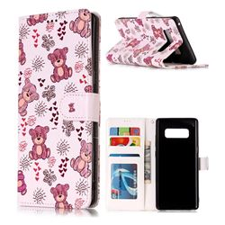 Cute Bear 3D Relief Oil PU Leather Wallet Case for Samsung Galaxy Note 8