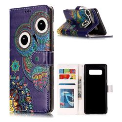 Folk Owl 3D Relief Oil PU Leather Wallet Case for Samsung Galaxy Note 8