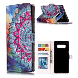 Mandala Flower 3D Relief Oil PU Leather Wallet Case for Samsung Galaxy Note 8