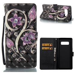 Peacock Flower 3D Painted Leather Wallet Case for Samsung Galaxy Note 8