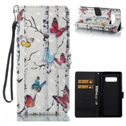Colored Butterflies 3D Painted Leather Wallet Case for Samsung Galaxy Note 8