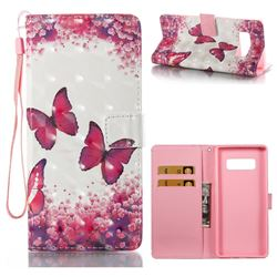 Rose Butterfly 3D Painted Leather Wallet Case for Samsung Galaxy Note 8