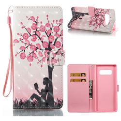 Plum Girl 3D Painted Leather Wallet Case for Samsung Galaxy Note 8