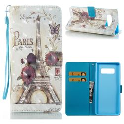Flower Eiffel Tower 3D Painted Leather Wallet Case for Samsung Galaxy Note 8