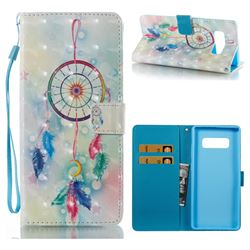 Feather Wind Chimes 3D Painted Leather Wallet Case for Samsung Galaxy Note 8