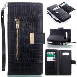 Retro Crocodile Zippers Leather Wallet Case for Samsung Galaxy Note 8 - Black