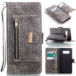 Retro Crocodile Zippers Leather Wallet Case for Samsung Galaxy Note 8 - Silver Gray