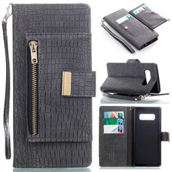 Retro Crocodile Zippers Leather Wallet Case for Samsung Galaxy Note 8 - Dark Gray
