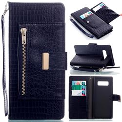 Retro Crocodile Zippers Leather Wallet Case for Samsung Galaxy Note 8 - Sapphire