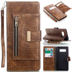 Retro Crocodile Zippers Leather Wallet Case for Samsung Galaxy Note 8 - Gold