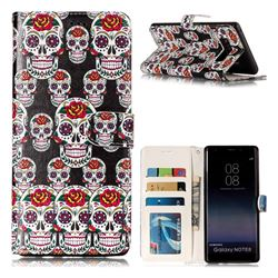 Flower Skull 3D Relief Oil PU Leather Wallet Case for Samsung Galaxy Note 8