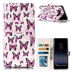 Butterflies Stickers 3D Relief Oil PU Leather Wallet Case for Samsung Galaxy Note 8