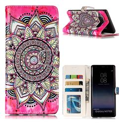 Rose Mandala 3D Relief Oil PU Leather Wallet Case for Samsung Galaxy Note 8