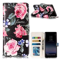 Peony 3D Relief Oil PU Leather Wallet Case for Samsung Galaxy Note 8