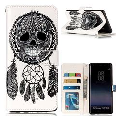 Wind Chimes Skull 3D Relief Oil PU Leather Wallet Case for Samsung Galaxy Note 8