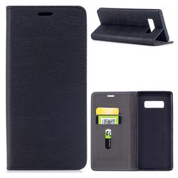 Tree Bark Pattern Automatic suction Leather Wallet Case for Samsung Galaxy Note 8 - Black