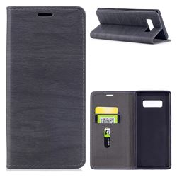 Tree Bark Pattern Automatic suction Leather Wallet Case for Samsung Galaxy Note 8 - Gray