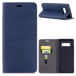 Tree Bark Pattern Automatic suction Leather Wallet Case for Samsung Galaxy Note 8 - Blue