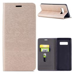 Tree Bark Pattern Automatic suction Leather Wallet Case for Samsung Galaxy Note 8 - Champagne Gold