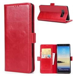 Luxury Crazy Horse PU Leather Wallet Case for Samsung Galaxy Note 8 - Red
