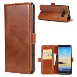 Luxury Crazy Horse PU Leather Wallet Case for Samsung Galaxy Note 8 - Brown