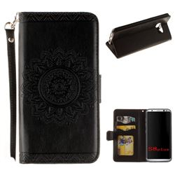 Embossed Datura Flower PU Leather Wallet Case for Samsung Galaxy Note 8 - Black