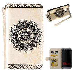 Embossed Datura Flower PU Leather Wallet Case for Samsung Galaxy Note 8 - White