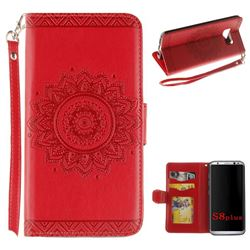 Embossed Datura Flower PU Leather Wallet Case for Samsung Galaxy Note 8 - Red