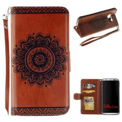 Embossed Datura Flower PU Leather Wallet Case for Samsung Galaxy Note 8 - Brown
