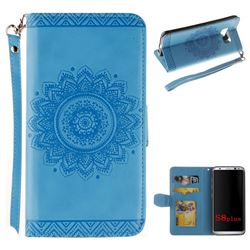 Embossed Datura Flower PU Leather Wallet Case for Samsung Galaxy Note 8 - Blue