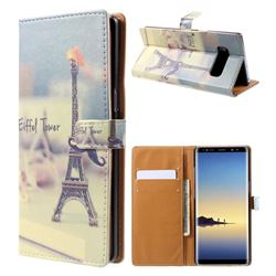 Eiffel Tower Leather Wallet Case for Samsung Galaxy Note 8