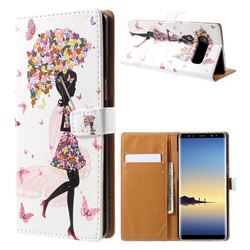 Flower Umbrella Girl Leather Wallet Case for Samsung Galaxy Note 8