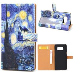 Lighthouse Painting Leather Wallet Case for Samsung Galaxy Note 8