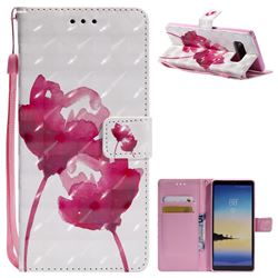 Red Rose 3D Painted Leather Wallet Case for Samsung Galaxy Note 8