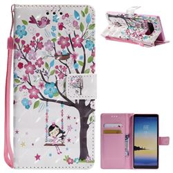 Flower Tree Swing Girl 3D Painted Leather Wallet Case for Samsung Galaxy Note 8