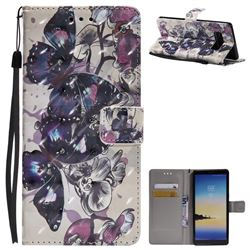 Black Butterfly 3D Painted Leather Wallet Case for Samsung Galaxy Note 8