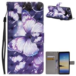 Violet butterfly 3D Painted Leather Wallet Case for Samsung Galaxy Note 8