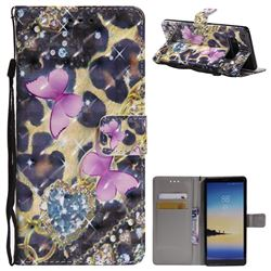 Pink Butterfly 3D Painted Leather Wallet Case for Samsung Galaxy Note 8