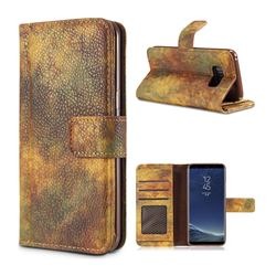 Luxury Retro Forest Series Leather Wallet Case for Samsung Galaxy Note 8 - Yellow