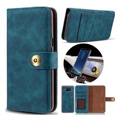 Luxury Vintage Split Separated Leather Wallet Case for Samsung Galaxy Note 8 - Navy Blue