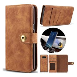 Luxury Vintage Split Separated Leather Wallet Case for Samsung Galaxy Note 8 - Brown