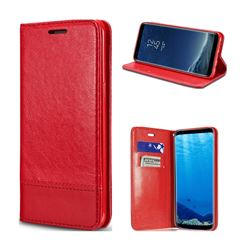 Magnetic Suck Stitching Slim Leather Wallet Case for Samsung Galaxy Note 8 - Red