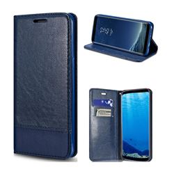 Magnetic Suck Stitching Slim Leather Wallet Case for Samsung Galaxy Note 8 - Sapphire